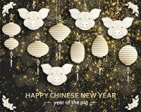Kinesisk bakgrund för nytt år med det idérika stiliserade svinet royaltyfria foton