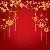 Kinesisk bakgrund för nytt år med guld- garnering vektor illustrationer