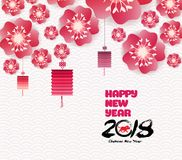 Kinesisk bakgrund för nytt år som blommar sakura filialer Arkivfoton