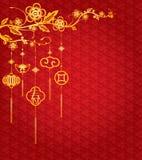 Kinesisk bakgrund för nytt år med guld- garnering Arkivbild