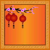 Kinesisk bakgrund med lyktor - illustration Royaltyfri Fotografi