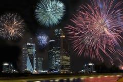 Kinesisk beröm för nytt år, fyrverkerishow royaltyfri fotografi