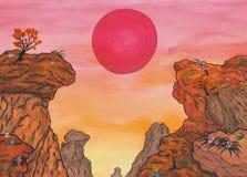 Kinesisk bergskedja med den röda solen för resning och träd och blommor stock illustrationer