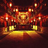 kinesisk borggårdnattplats royaltyfria bilder