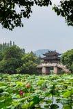 Kinesisk bro på den västra sjön Royaltyfri Bild