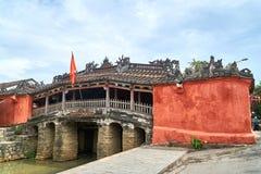 Kinesisk bro - turismsikt- och loppdestinationen i Hoi An, Vietnam arkivfoton
