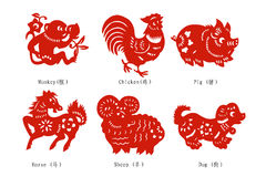 kinesisk cuttingpapperszodiac Royaltyfri Bild