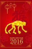 Kinesisk design för nytt år för år av apan Royaltyfri Fotografi