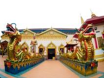 Kinesisk drake för thailändsk drake på Wat Chaiyamangalaram Penang Malaysia Arkivbild
