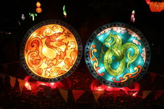 Kinesisk drake & Maori Taniwha Lantern royaltyfria bilder