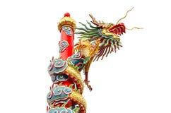 Kinesisk drake med isolerad white Royaltyfri Bild