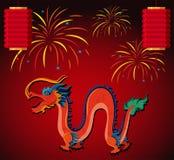 Kinesisk drake och lykta med fyrverkerier i bakgrund royaltyfri illustrationer