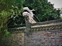 Kinesisk drake och vägg royaltyfria bilder