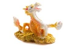 Kinesisk drake som isoleras på vit bakgrund Arkivbilder