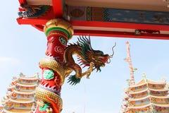 Kinesisk drake, tempel Royaltyfri Foto