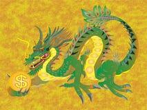 KINESISK DRAKE TILL PENGAR OCH RIKEDOM vektor illustrationer