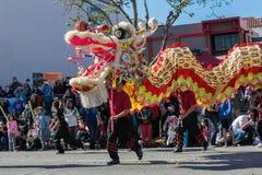 Kinesisk drake under guld- Dragon Parede. Arkivbild