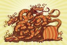 Kinesisk drakeMazelek vektor illustrationer
