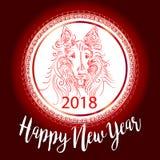 Kinesisk för vektorkort för nytt år 2018 festlig design med den gulliga hunden, zodiaksymbol av 2018 år översättning av text på s Royaltyfri Illustrationer
