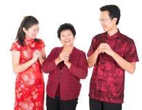 Kinesisk familjhälsning Royaltyfri Bild