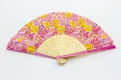 Kinesisk fanmodell på de rosa blommorna Fotografering för Bildbyråer