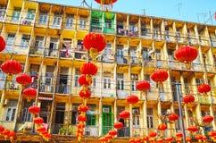 Kinesisk festival för nytt år i Yangon, Myanmar Arkivfoton