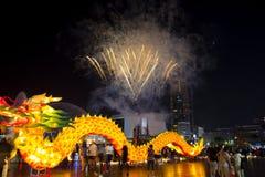 Kinesisk festival, kinesiskt nytt år, lyktafestival, Zhongyuan Purdue, ursnygg färgrik lyktafestival arkivfoto