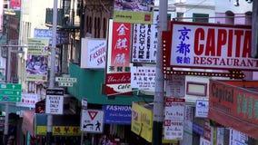 Kinesisk fjärdedel på San Francisco Chinatown - SAN FRANCISCO lager videofilmer