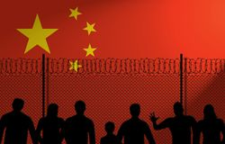 Kinesisk flagga bak det säkra staketet royaltyfri illustrationer