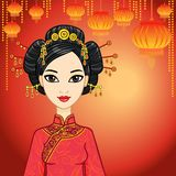 Kinesisk flicka i traditionell kläder och en festlig frisyr vektor illustrationer