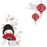Kinesisk flicka med en ventilator stock illustrationer