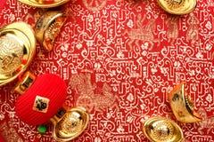 Kinesisk garnering för nytt år, slut upp guld- den tackaang-powen fotografering för bildbyråer