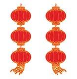 kinesisk girlandlykta stock illustrationer