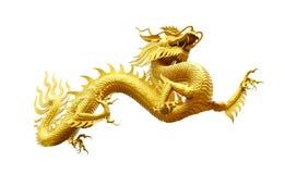Kinesisk guld- drake som isoleras på vit med den snabba banan Arkivfoton