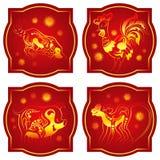 kinesisk guld- horoskopred royaltyfri illustrationer