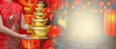 Kinesisk guldtacka för nytt år royaltyfria foton