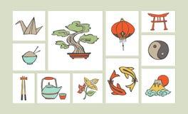 Kinesisk hand dragen illustrationsymbolsuppsättning Royaltyfri Fotografi