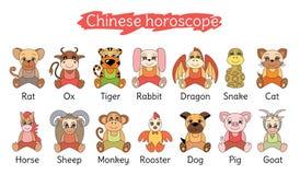 Kinesisk horoskopsamling Zodiakteckenuppsättning Svinet tjaller, oxen, tig stock illustrationer