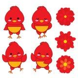 Kinesisk illustration för nytt år med den gulliga tuppen och röda blommor Stock Illustrationer