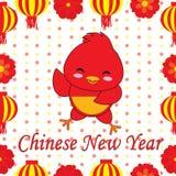 Kinesisk illustration för nytt år med den gulliga tuppen på prickbakgrund Royaltyfri Illustrationer