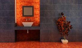 kinesisk inre stil för badrum royaltyfri illustrationer