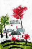 Kinesisk kalligrafimålning av den provinsiella kinesiska byn Royaltyfri Bild