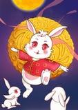 Kinesisk kanin för Mitt--höst festivaljade som tillbaka kommas med en månekakaillustration från himlen royaltyfri illustrationer