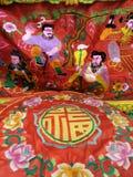 Kinesisk konst på broderikudde och altaretabelltorkduken Arkivfoto