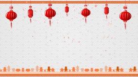 Kinesisk konstbakgrund och röd lykta med flyttninggränsen med kopieringsutrymme stock illustrationer
