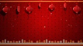 Kinesisk konstbakgrund och röd lykta med flyttninggränsen med kopieringsutrymme royaltyfri illustrationer