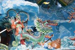 Kinesisk konung Neptune Riding Dragon Diorama Royaltyfria Bilder