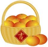 Kinesisk korg för nytt år av apelsinillustrationen Arkivbild