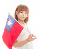 Kinesisk kvinnlig hållande taiwanesisk flagga Royaltyfria Bilder