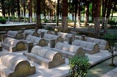Kinesisk kyrkogård eller Kina Yadgar med gravar och gravvalv av kinesiska soldater och arbetare Gilgit Pakistan Arkivfoto